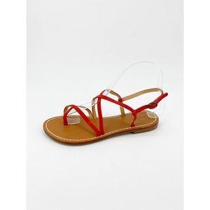 Soludos Zoe Strappy Sandal Red Leather Buckle